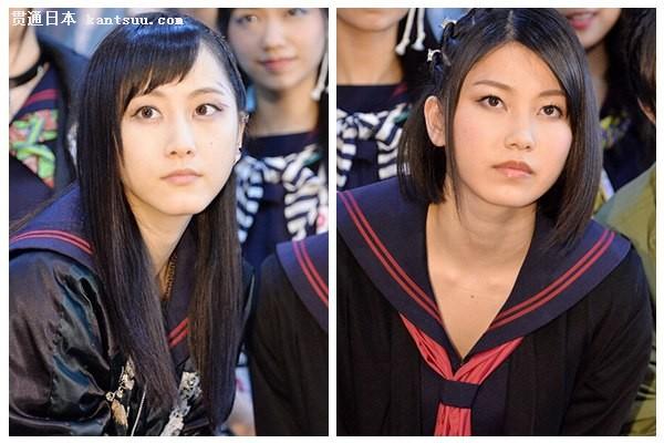 松井玲奈(左)与(横山由依) 人民网东京5月14日电 13日,AKB48舞台剧《真假学园》~京都 血风修学旅行~见面会在东京举行,双主演SKE48成员松井玲奈和AKB48成员横山由依等14名参演者悉数出席。为了配合舞台剧的主题,松井玲奈以一身不良少女的装束登场,在水手服外又套上了带有刺绣花纹的夹克,还戴上了耳环,面对摄像机也没有展现她一贯的微笑。 对于这次出演的角色,松井玲奈评价道,这是一个相当疯狂的角色,我也在一直思考如何能够表现出角色不合群和特殊的个性。此外,她还表示,在舞台剧中,我会把这个