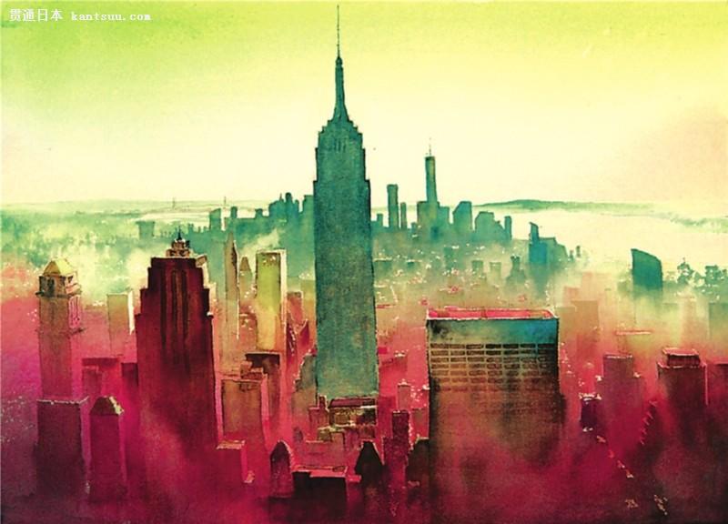 水彩手绘城市建筑大图